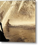 Playing In The Fountain Metal Print