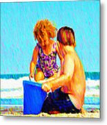 Playing In The Sand Metal Print
