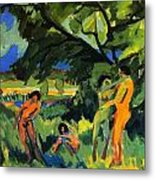 Playing Nudes Under Trees Metal Print
