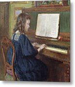 Playing The Piano Metal Print