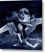 playing with the Moon Metal Print by Mayumi  Yoshimaru