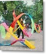 Playing With The Ribbons Metal Print