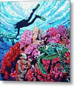Playing With The Sea Turtles Metal Print
