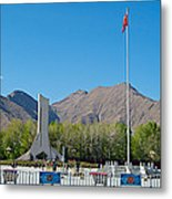 Plaza Across From Potala Palace Which Replaced A Natural Lake-tibet Metal Print