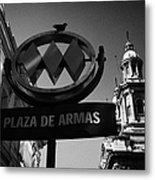 plaza de armas metro station near Santiago Metropolitan Cathedral Chile Metal Print