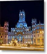 Plaza De Cibeles At Night In Madrid Metal Print