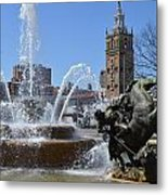 Plaza Fountain Metal Print