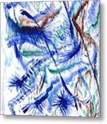 Plume Bleues Metal Print