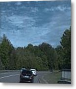 Pleasure Drive Paris Roads Tree Line And Wonderful Skyview Metal Print