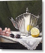 Pleated Teapot With Lemon Metal Print