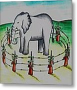 Plight Of Elephants Metal Print