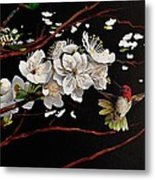 Plum Blossoms And Anna's Hummingbird Metal Print