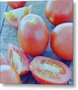 Plum Tomatoes On A Wooden Board Metal Print