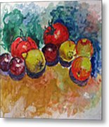 Plums Lemons Tomatoes Metal Print by Vladimir Kezerashvili
