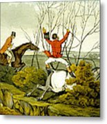 Plunging Through The Hedge From Qualified Horses And Unqualified Riders Metal Print by Henry Thomas Alken