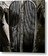 Plymouth Grill Black And White Metal Print