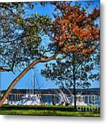 Plymouth Harbor In Autumn Metal Print
