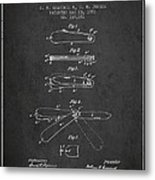 Pocket Knife Patent Drawing From 1886 - Dark Metal Print