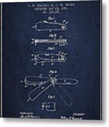 Pocket Knife Patent Drawing From 1886 - Navy Blue Metal Print