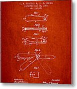 Pocket Knife Patent Drawing From 1886 - Red Metal Print