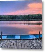 Poconos Lake Whitney Sunset Rowboat Metal Print