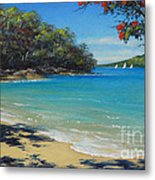 Pohutukawa Nz - Beach And Rangitoto  Metal Print