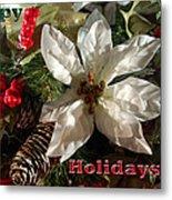 Poinsetta Christmas Card Metal Print