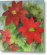 Poinsettias Holiday Card Metal Print