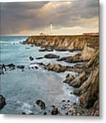 Point Arena Headland And Lighthouse Metal Print