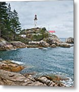 Point Atkinson Lighthouse And Rocky Shore Metal Print