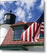 Point Betsie Lighthouse With Flag Metal Print