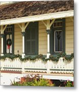 Point Fermin Lighthouse Christmas Porch Metal Print