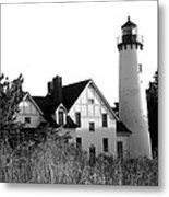 Point Iroquois Lighthouse In B/w Metal Print by Sharon McLain