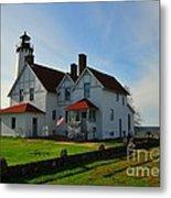 Point Iroquois Lighthouse On Whitefish Bay Michigan Metal Print