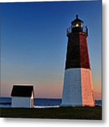 Point Judith- Sidelit At Sunset Metal Print by Thomas Schoeller