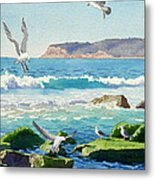 Point Loma Rocks Waves And Seagulls Metal Print