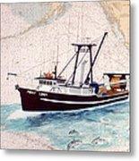 Point Loma Trawl Fishing Boat Nautical Chart Map Art Metal Print