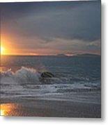 Point Mugu 1-9-10 Sun Setting With Surf Metal Print