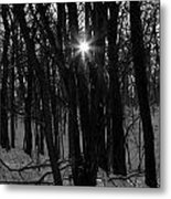 Point Of Light In Black And White Metal Print