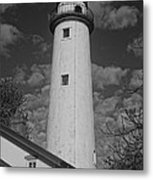 Pointe Aux Barques Lighthouse Black And White Metal Print