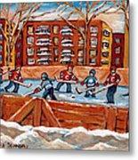 Pointe St. Charles Hockey Rink Southwest Montreal Winter City Scenes Paintings Metal Print