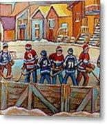 Pointe St. Charles Hockey Rinks Near Row Houses Montreal Winter City Scenes Metal Print