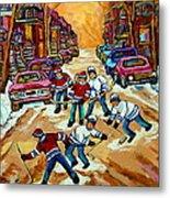 Pointe St.charles Hockey Game Winter Street Scenes Paintings Metal Print
