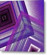 Pointillism And Purple On Geometric Art  Metal Print by Mario Perez