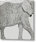 Pointillism Elephant Metal Print
