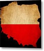 Poland Grunge Map Outline With Flag Metal Print