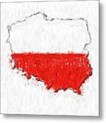 Poland Painted Flag Map Metal Print