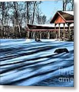 Pole Barns In The Winter Metal Print