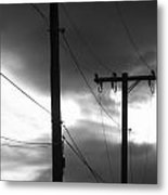 Poles And Sunsets In Black And White Metal Print