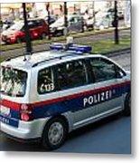 Police Car In Vienna Metal Print